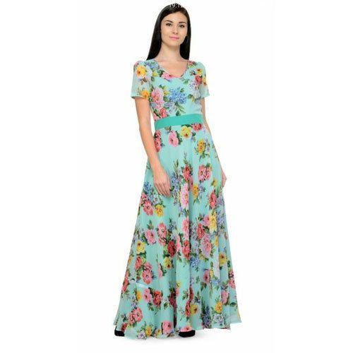 fd686b497952e Sea Green Half Sleeves Ladies Floral Print Long Gown