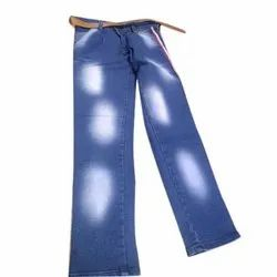 Stretchable Faded Mens Blue Denim Jeans