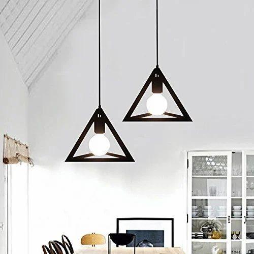Eisa Vintage Black Metal Triangle Shape Hanging Light Pendant Ceiling Lamp Retro