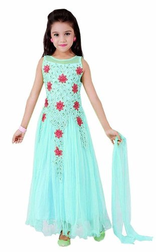 Kids Sky Blue Gown For 6 To 12 Years Old Girl