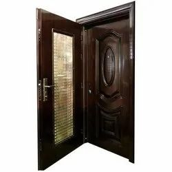 Brown Hinged Designer SS Security Door, For Home, Size/Dimension: 2050 X 1050 Mm