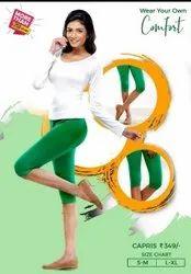 Lycra Cotton 40 color Comfort Lady Women Capri, Size: L- XL