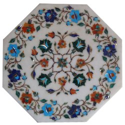 Exclusive White Marble Inlay Dining Table Top