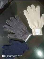 白色纯棉针织手手套