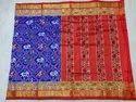 Beautiful Royal Blue And Red Pure Silk Ikkat Saree, Length: 6.5 M