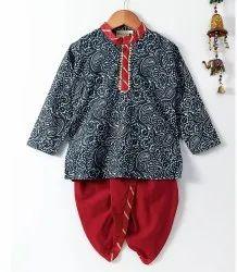 Jaipuri Print Cambric Cotton Dhoti Kurta- Gray