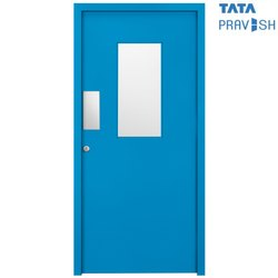 Hinged Wood Grain Finish Tata Pravesh Vision Panel Commercial Door
