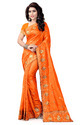 Self Design Silk Orange Saree