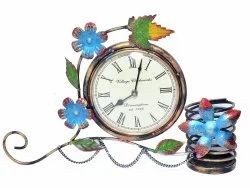 Iron Crafted Table Top Designer Clock Stationary Holder Pen Holder Decorative Item Table Top Item