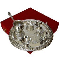 9 Inch Round German Silver Pooja Thali With Articles
