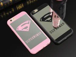 3D Plastic iPhone 7 Superman & Superwoman Mirror Finish Cover, Mobile Brand Model: Apple