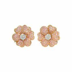Gold Diamond Flower Earrings