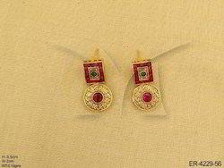 Golden Metal Alloy Chokar Antique Earrings