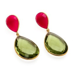 Green Amethyst Hydro & Fuchsia Chalcedony Earrings