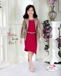 Girl Adorable Maroon Short Midi With Checks Jacket Formal Dress