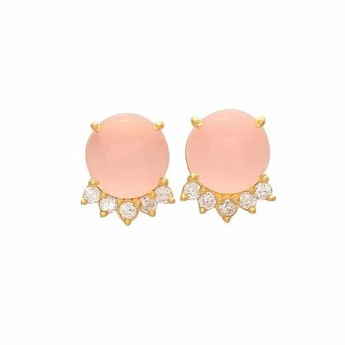 c01164b9b Round Pink Chalcedony And CZ Gemstone Stud Earring, Size: 12/2 Mm ...