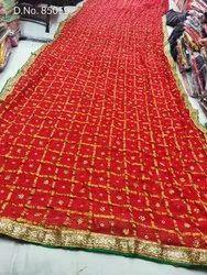 Red Gota Patti Border Saree