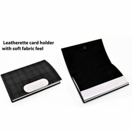 Black Leather and Stainless Steel Leatherette Card Holder