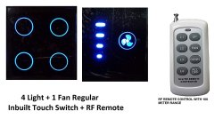 Touch Remote Control Switch System for 4 Lights & 1 Fan with Speed Regulation/High Detection Range