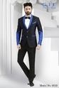 Black With Blue Party Wear White Dotted Printed Men Blazer