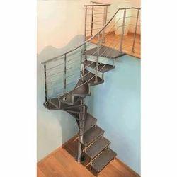 Brown Rectangular Mild Steel Home Stair Case