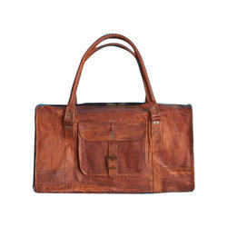 Brown Leather Duffle Bag ( Square )