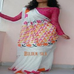 Cotton White Hand Painted Sarees, Length: 6.3 m