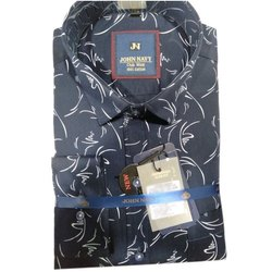 John Navy 100% Cotton Men Printed Causal Shirt