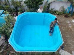 Fiber Glass Blue Swimming Pool, Height: 4 feet