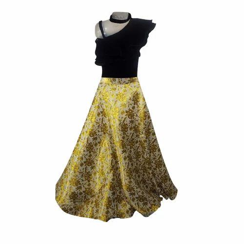 ac01bb7525c Chanderi Golden & Black Fancy Indo Western Skirt Top, Rs 5336 /piece ...