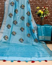 Pure Linen Saree With Work
