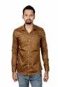 Brown Collar Neck Vida Loca Men Satin Cotton Printed Shirt
