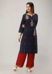 Cotton Blue Color Casual Wear Straight Cut Kurtis