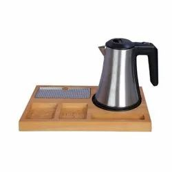Tea Kettle With Wooden Tray