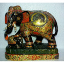Hand Painted Wooden Elephant Statue