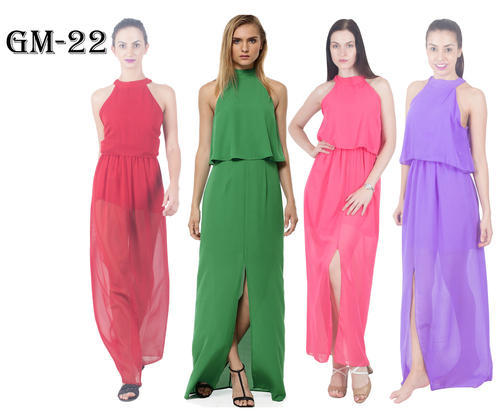 Georgette Round Neck Party Wear Long Maxi Dress
