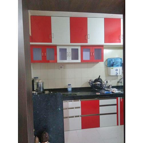 Red And White Modern Kitchen Cabinets