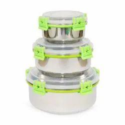 Plain Circular Lock N Lock Stainless Steel Storage Container 3 pcs