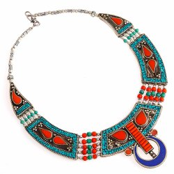 Stunning Lapis Lazuli Coral Tibetan Turquoise Gemstone Brass Metal Necklace