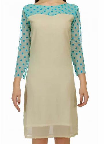 Skater Dress - Fashionoma Casual 3 4 Sleeves Beige And Blue Skater Dress  Wholesaler from Surat 7e178f4e7