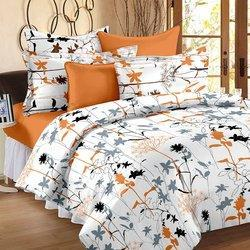 Single Flower Print Silk Double Bed Cover