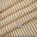 Small Stripe Brown Natural Color Hand Block Print Cotton Fabric