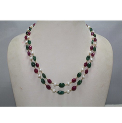 Emerald Ruby And Pearl 18 Kt Gold Wire Necklace