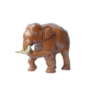 Mahogany Wood Hand Carved Trunk Turn Elephant..10