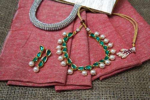 e17787803 Designer Bollywood Inspired Kundan Green And Pearl Necklace Set ...