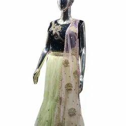 Semi-Stitched Georgette Ladies Party Wear Lehenga