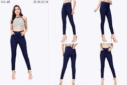 Stretchable Skinny Navy Blue High Waist Denim Women Jeans
