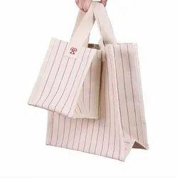 Beige Cotton Canvas Stripe Bag