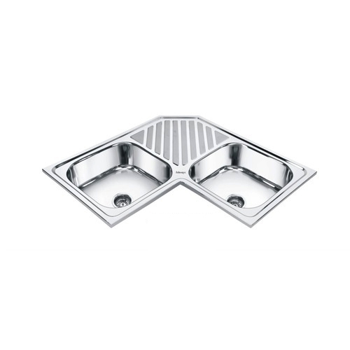 Girish Stainless Steel Corner Double Bowl Sink With Tray For Restaurants Home Rs 7500 Set Id 6858174597