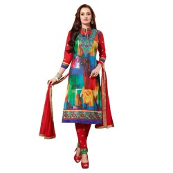 Blue and Red Coloured Unstitched Salwar Suit